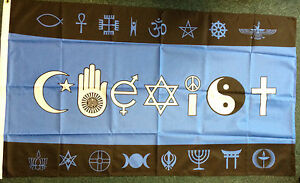 Co-Exist-Flag-Banner-New-Age-Inter-Faith-Ecumenism-Multi-Cultural-Multi-Faith-bn