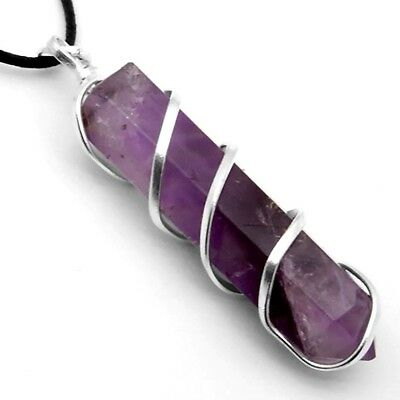 7a1a93c6b2b6f AMETHYST Crystal Point Silver Wire Wrapped Pendant Chakra Necklace HANDMADE  Heal   eBay