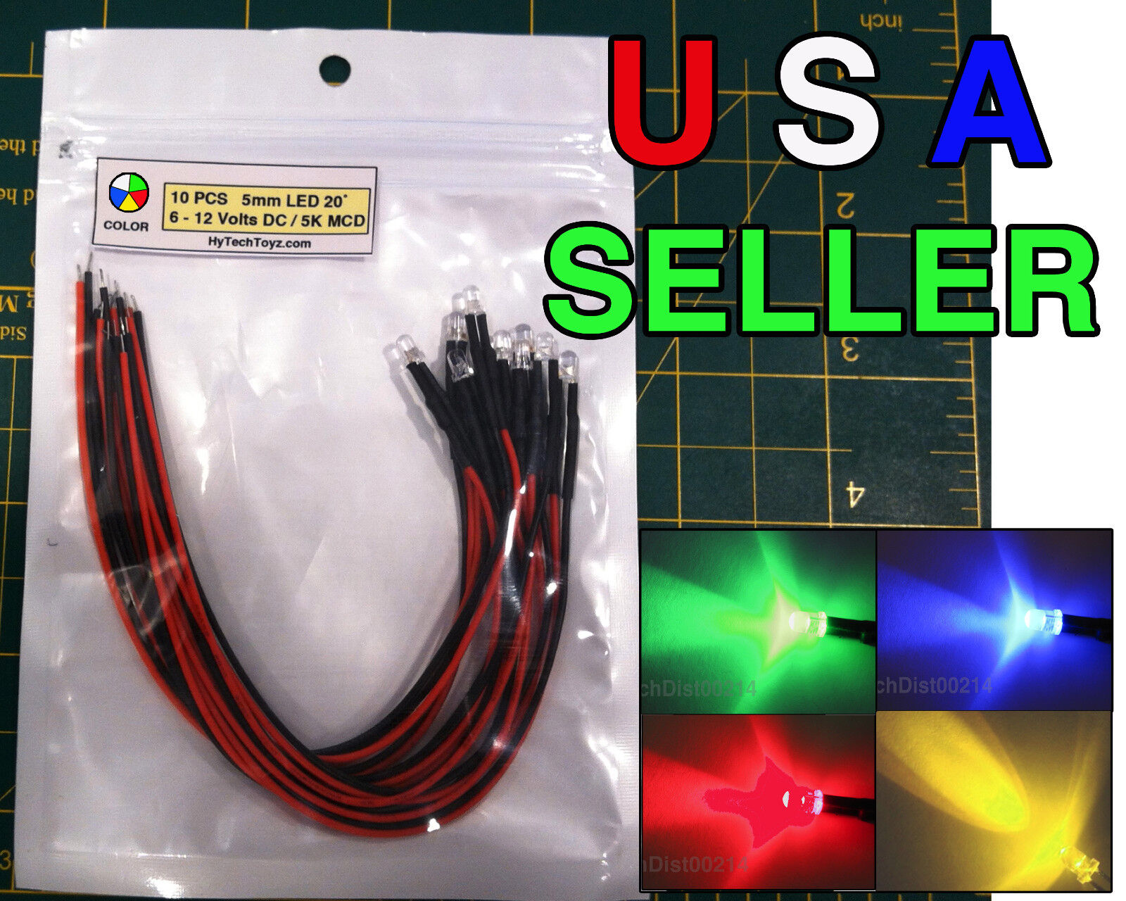Pack of 10 5mm 12v Pre-Wired Flashing Red LED Ultra Bright
