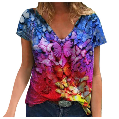 Plus Size Ladies Butterfly Print T-Shirts Short Sleeve V Neck Baggy Blouse Tops