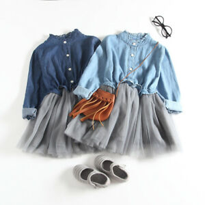 8e4d725257d Kids Toddler Baby Girl Denim Tulle Long Sleeve Casual Party Princess ...