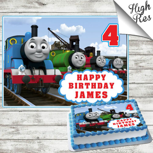 THOMAS THE TANK ENGINE RECTANGLE EDIBLE CAKE TOPPER DECORATION PERSONALISED