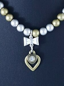 Matte-Silver-and-Brass-Beads-Heart-Bow-amp-LOVE-Charms-Choker-Necklace-Gift-Idea