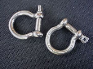 """STAINLESS STEEL BOW SHACKLE 5//32/"""" M4 MARINE GRADE 4PC HD-BS-M4"""