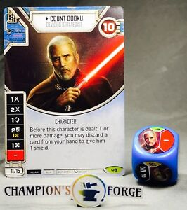 Star Wars Destiny Awakenings Set Count Dooku #9 Rare w// Die