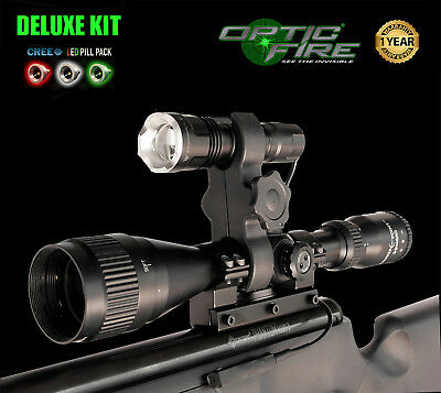 Opticfire ® Nano-zoom 3 Led Scope Mount Caccia Fucile Luce Lamping Air Fucile Torcia-