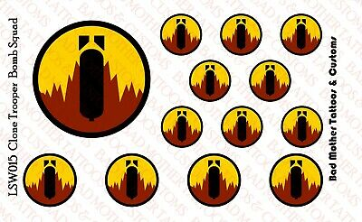 Star Wars Clone Trooper Bomb Squad Waterslide Decals for 1//12 scale figures