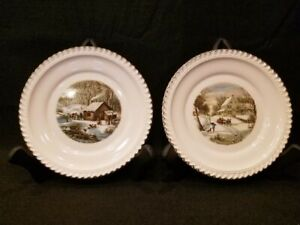HARKERWARE-USA-CURRIER-AND-IVES-VINTAGE-Plates-Winter-Scenes-SET-OF-2