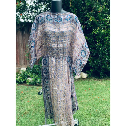 VTG SILK  HIPPIE ADINI STYLE KIMONO SLEEVE DRESS