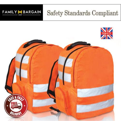 High Visibility Strips Viz Waterproof Backpack Rucksack Orange Adjustable Straps