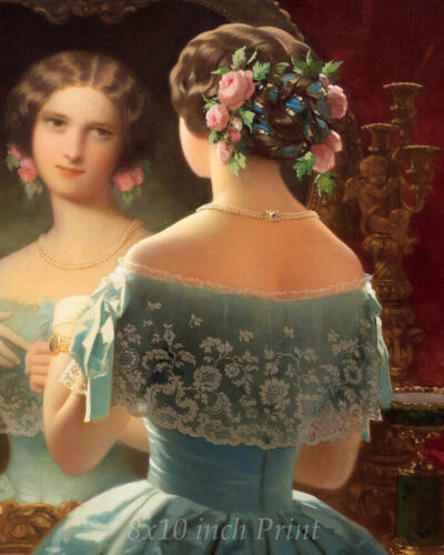 Woman Mirror Lace Dress Flowers 8x10 Print Picture 2124 A Young Lady Dressing