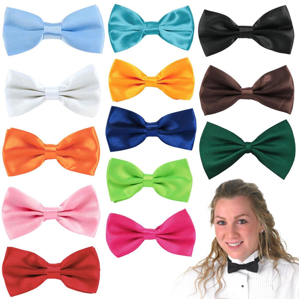 Ladies Bow Tie Adjustable Satin Pre Tied Necktie Women Neck Party Casual Wedding