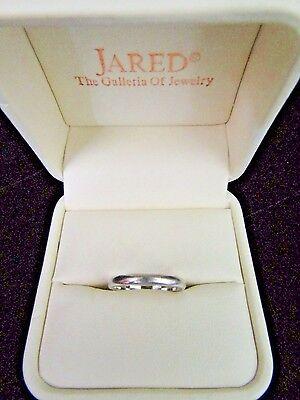 JARED 14 K White Gold Band~Ring~Size 5~Gorgeous~Simple Elegance~Original Box
