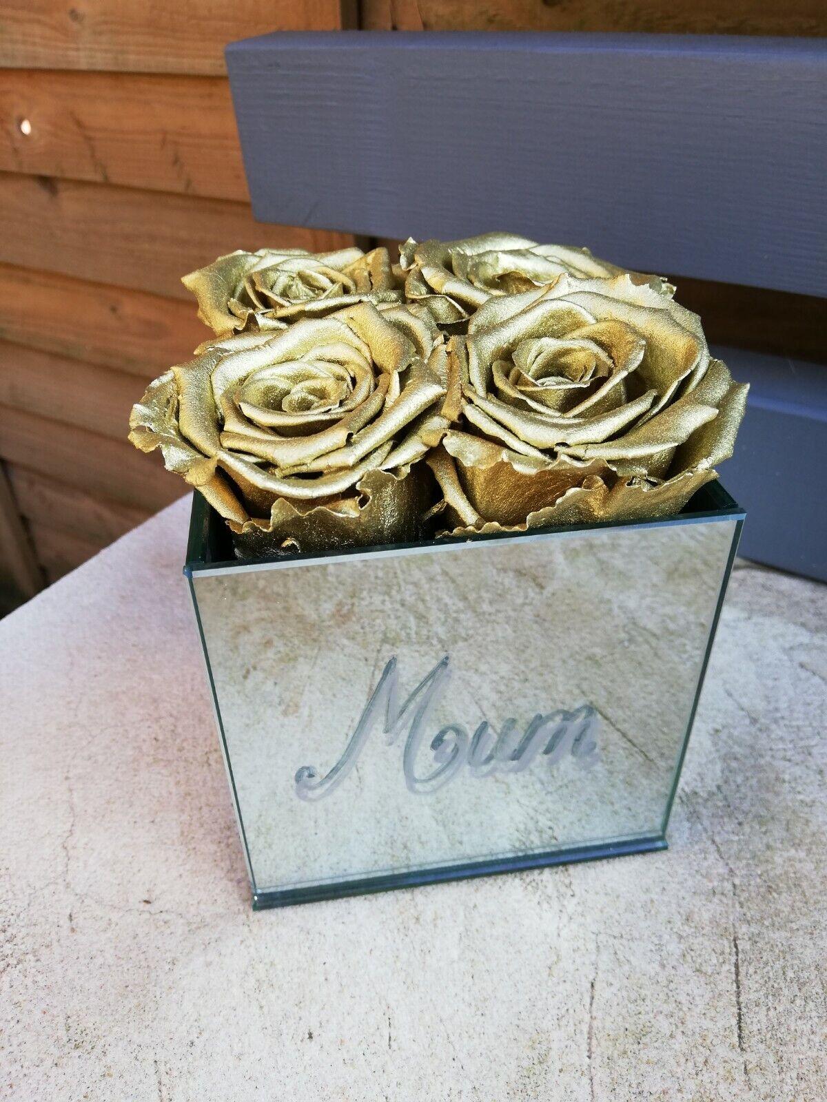 rosa conservati-MAMMA D'oro-vetro cubo per la festa della mamma mamma mamma 101866