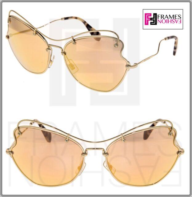 69953914f MIU MIU SCENIQUE Butterfly 56R Pale Gold Mirrored Oversized Sunglasses  MU56RS