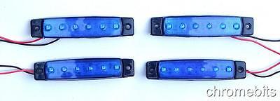 4 pcs 12V LED SMD BLUE SIDE MARKER LIGHT LAMP TRUCK TRAILER LORRY CHASSIS CAMPER