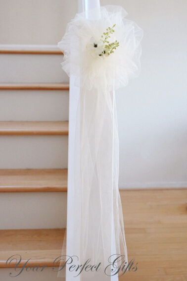 10 Ivoire Tulle Net mariage Pew Bows Bridal DECOARTION