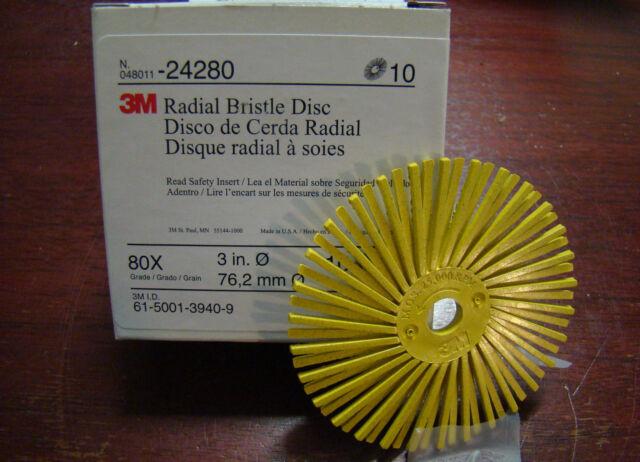 "3M 24280 3"" Radial Bristle Disc 3/8"" Arbor 80 Grit Yellow Qty 10 Discs /5504eHB1"