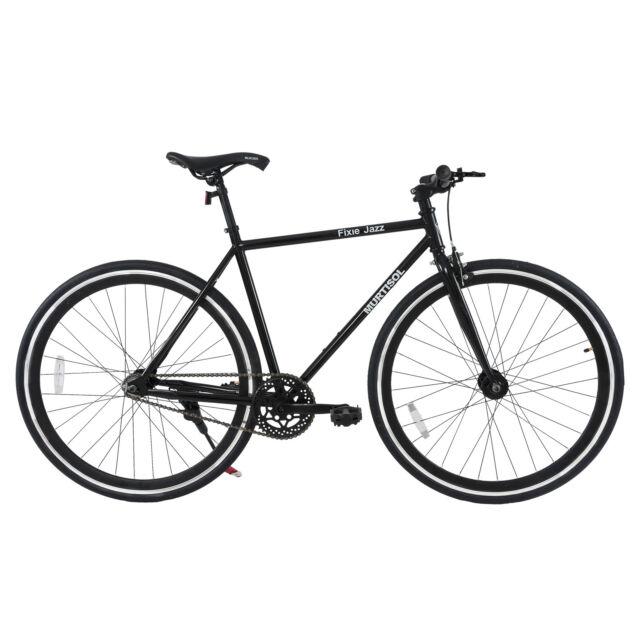 Grey Fixed Gear Bicycle Hybrid Urban Bike Single Speed Shimano Frame ...
