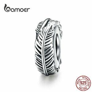 BAMOER-Women-European-CZ-Charm-S925-Sterling-Silver-feather-Fit-Bracelet-Jewelry