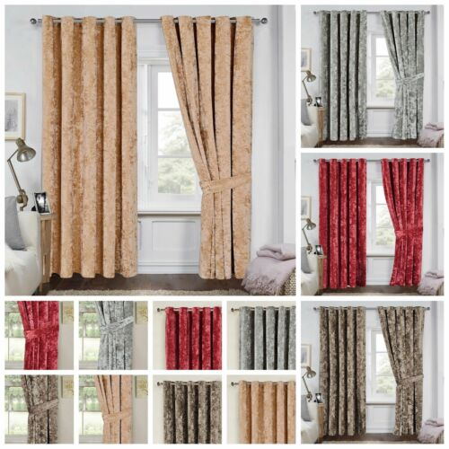 Heavy Crushed Velvet Eyelet Ring Top Fully Lined Window Curtains With Tiebacks