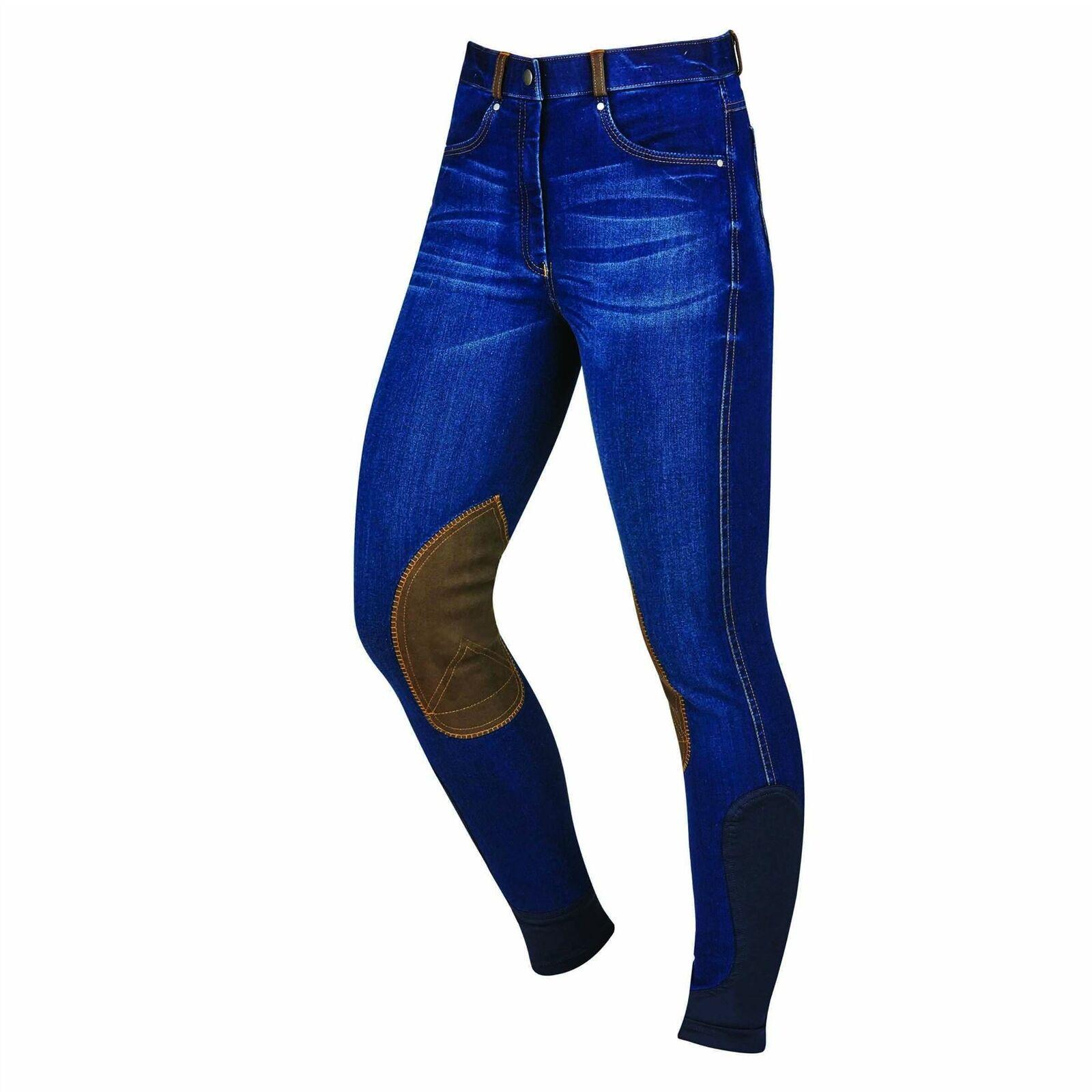 Dublin Shona Denim Breech Ladies Fullseat Kneepatch Washed Vintage Riding Jeans
