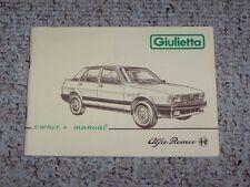 1984 Alfa Romeo Giulietta 1.6 1.8 2.0 Original Owners Owner's User Manual RARE!