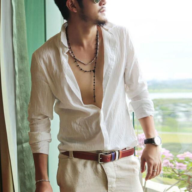 Men's Ultra-Thin Light Washed Cotton Linen Blend Sleeve Bands Shirts Embellished