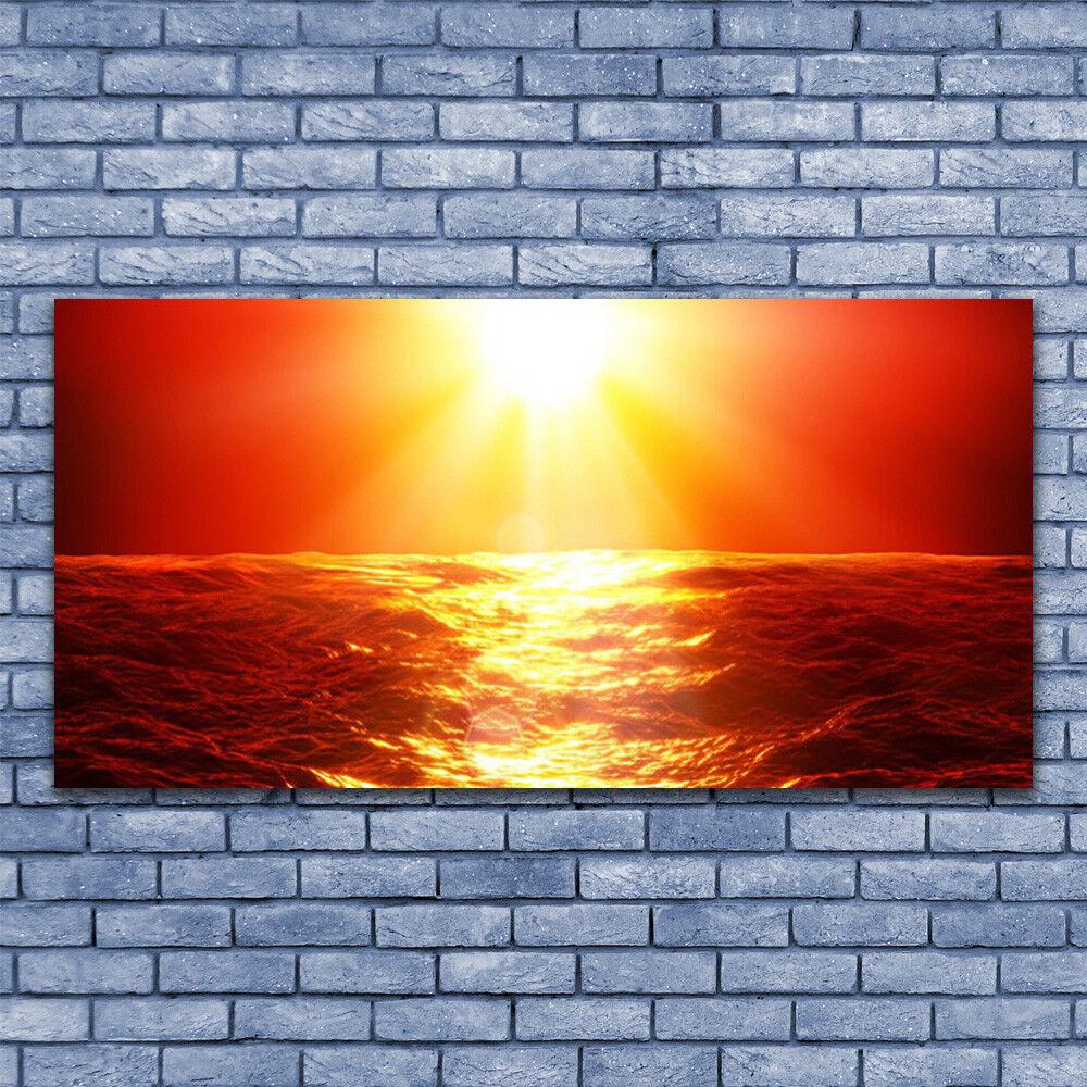 Wall art Print on Plexiglas® Acrylic 140x70 Sun Sea Landscape