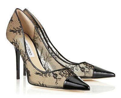 NEW JIMMY CHOO AMIKA 36.5 6.5 BLACK LACE & PATENT POINTY TOE PUMP SHOES SOLD OUT