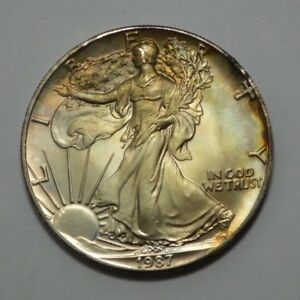 1987-American-Silver-Eagle-Dollar-1-Oz-Fine-Silver-Coin-Natural-Toning-UNC-MS