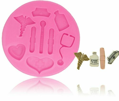 Silicone Mold Nurse Themed Medical Hat Bottle Heart Tool Cake Decorating Tools
