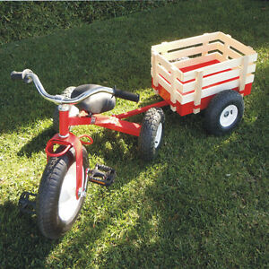 classic tricycle with wagon set pull along trike toy. Black Bedroom Furniture Sets. Home Design Ideas