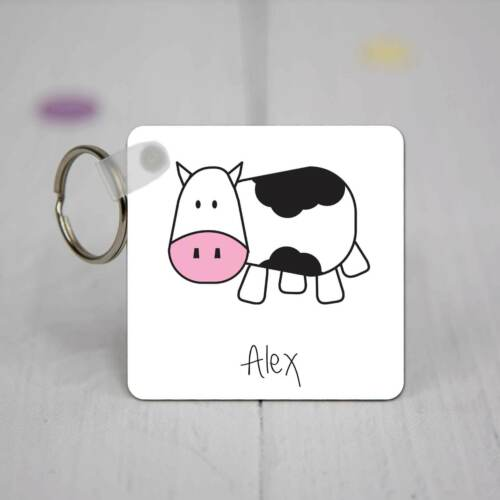 Personalised Square Acrylic Keyring Cow