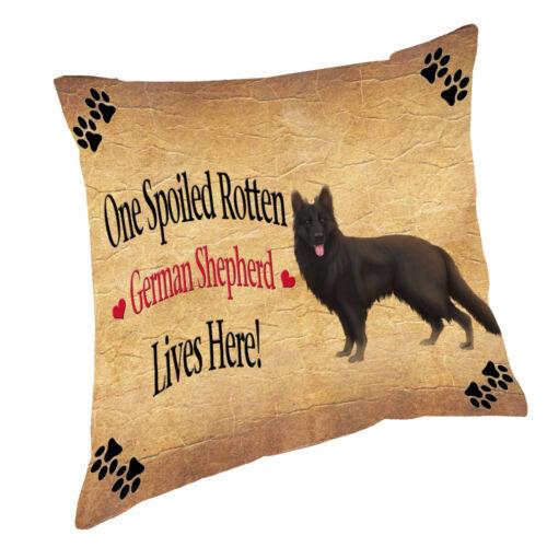 Black German Shepherd Spoiled Rotten Dog Throw Pillow 14x14