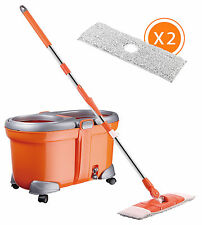360° Floor Spin Magic Mop and Bucket Set w/ 2 Microfiber Cloth Spinning Mop Head