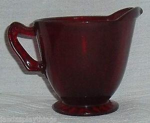 Anchor-Hocking-Royal-Ruby-Creamer-Red-Glass-Vtg-Depression