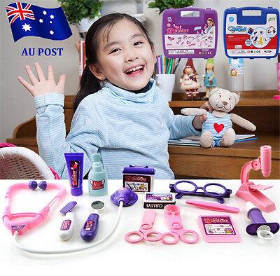 Girls //Kids Doctors Nurses Toy Medical Set Role Play Hard Carry Case Gift Pink