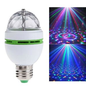 E27 3W LED RGB Crystal Magic Ball Rotating For Disco Party Stage Lamp Light PO