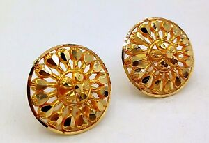 Image Is Loading 22 K Yellow Gold Round Shape Earring Tops