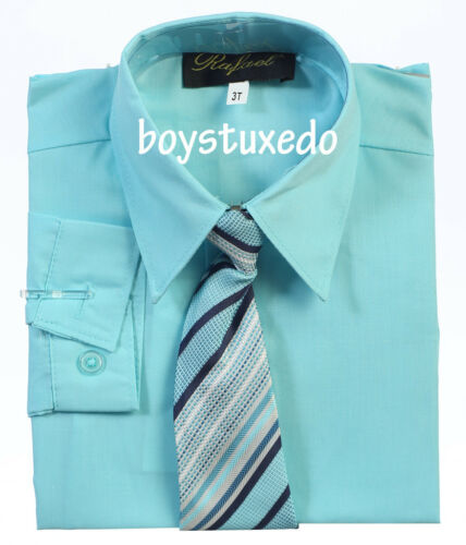 New Boy/'s Formal Aqua Blue Solid Long Sleeve Dress Shirt With Tie Sizes 2T-20