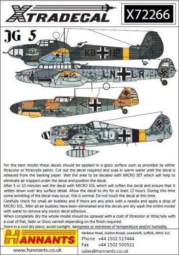 Xtradecal 1//72 Luftwaffe Jg 5 Squadron Geschichtlich #72266
