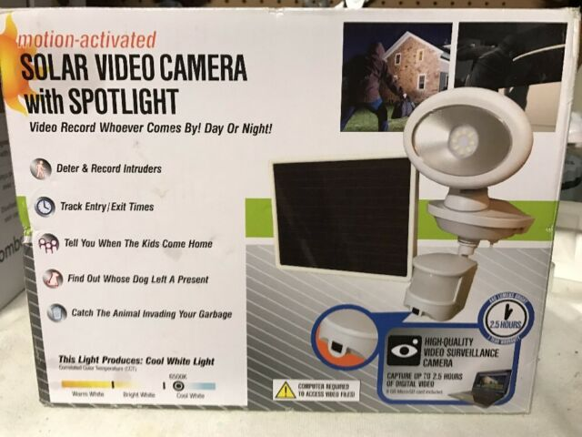 Maxsa Innovations Motion-Activated Solar Security Video Camera with Spotlight