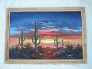 Large Bernard B Duggan Southwest Landscape Oil Painting Signed Scratches C Pics