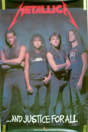 RARE METALLICA AND JUSTICE FOR ALL 1988 VINTAGE MUSIC RECORD STORE PROMO POSTER
