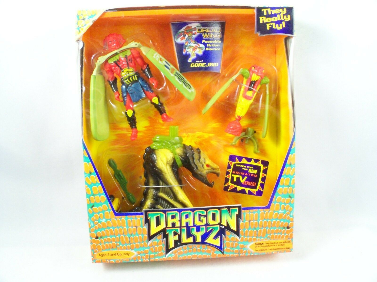 Galoob Dragon Flyz Dread Wing GoreJaw Dragon Launcher 1996 Sealed