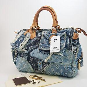 d7eef082371d Image is loading Authentic-Louis-Vuitton-Speedy-30-Denim-Patchwork-Bleu-