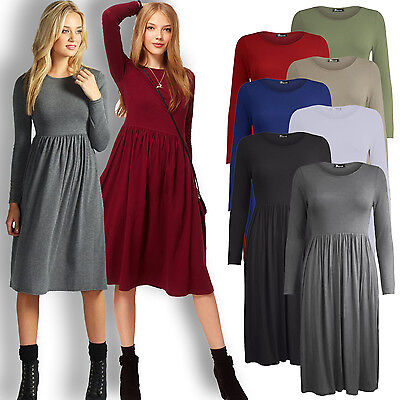 WOMENS JERSEY DRESS LADIES FRANKIE SMOCK SWING DRESS LONG SLEEVE MIDI DRESS 8 18