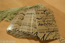 Lot 100 Large Scalloped Paris Print Paper Merchandise Price Tags With String