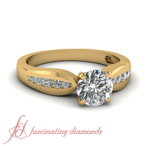 34 Carat Round Cut Diamond Tapered Channel Set Ring For Women Yellow Gold GIA